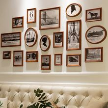Photo Wall Decoration Living Room Free-punching Photo Wall Solid Wood Frame Background Wall Photo Frame Wall Hanging Wall Combination Creative