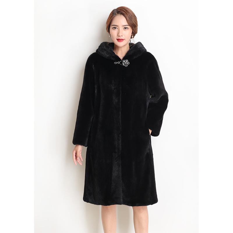 Danish velvet mink fur grass mink fur coat whole mink coat medium length stand collar large coat