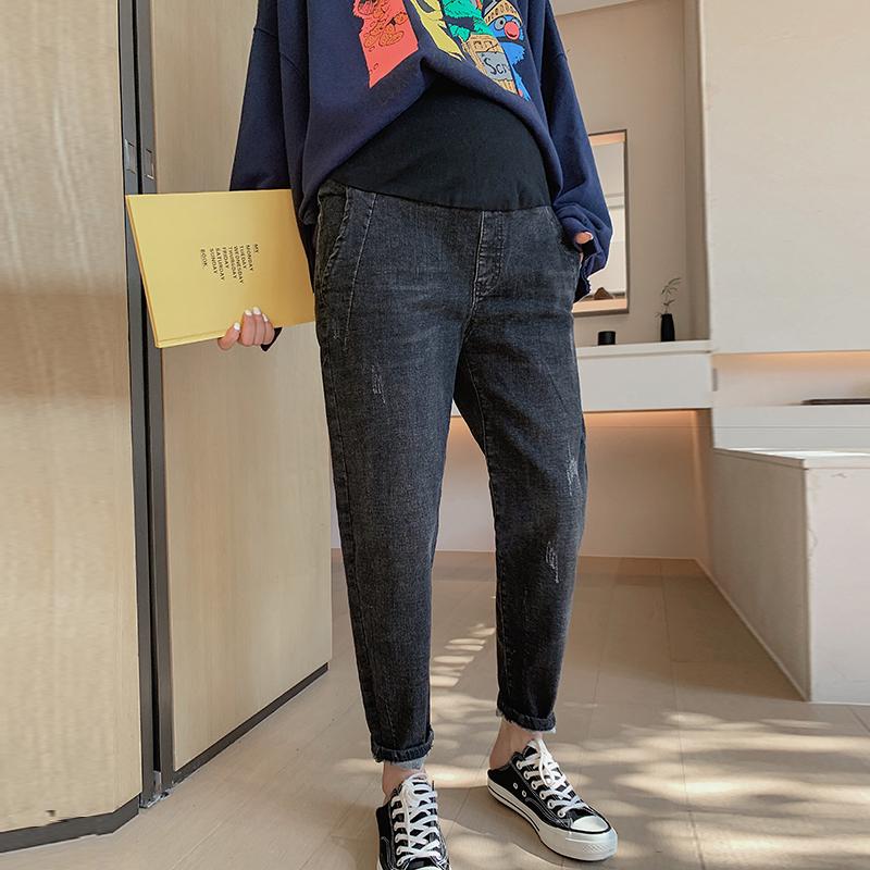 Zmami 自制款 有弹性的哈伦裤孕妇牛仔裤春秋款九分休闲孕妇裤子包邮