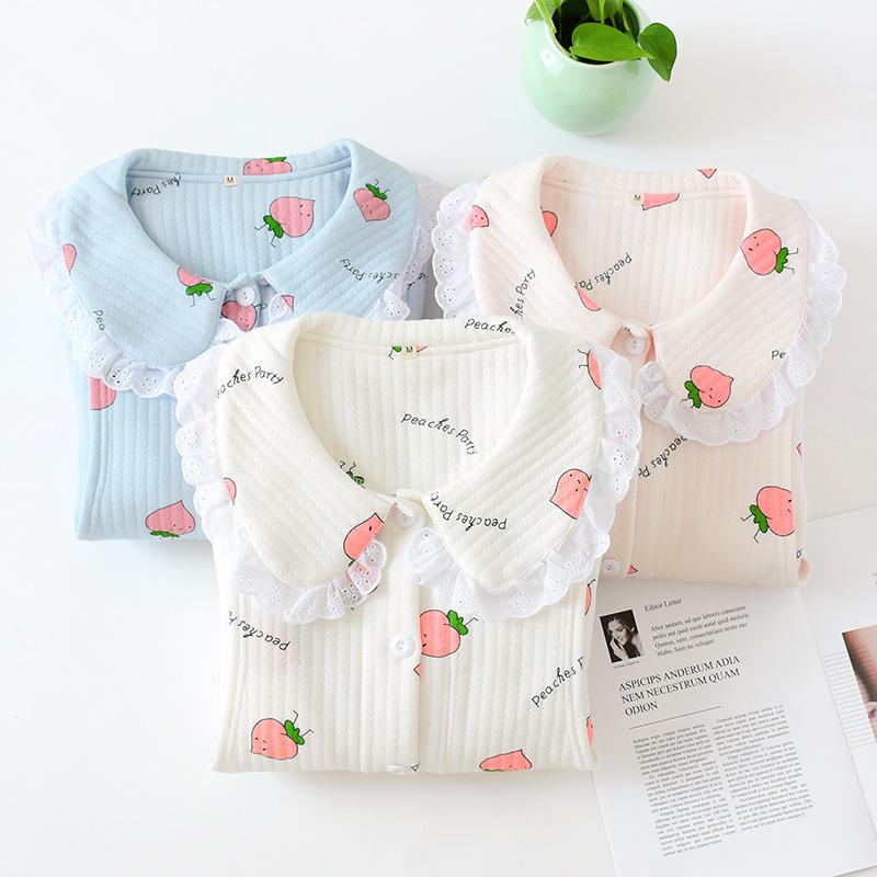 券后109.00元韩版可爱桃孕妇月子服产后外穿加厚空气层孕妇睡衣夹棉家居服套装