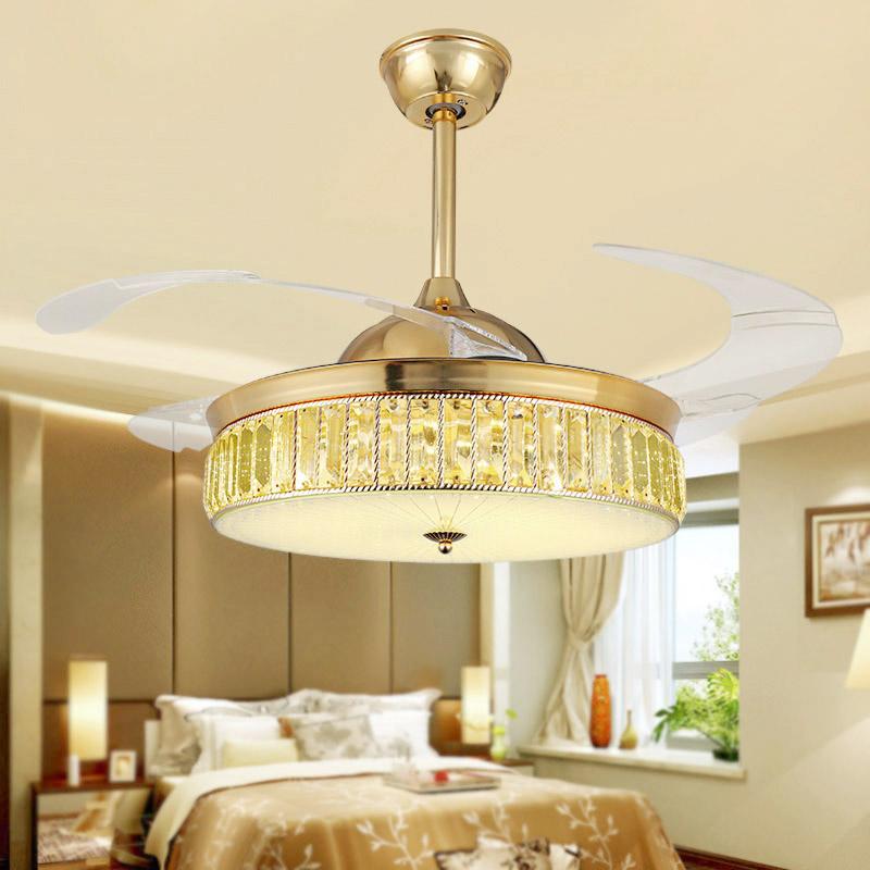 隐形风扇吊灯简约变频水晶欧式餐厅大客厅52寸家用吸顶吊扇大风力