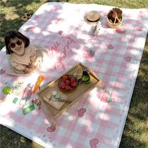 北欧网红野餐垫红白格子加厚地垫户外春游草坪防潮垫便携露营ins