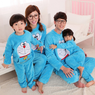 Cute winter flannel pajamas cotton flannel pajamas paternity suit mother Family Pack