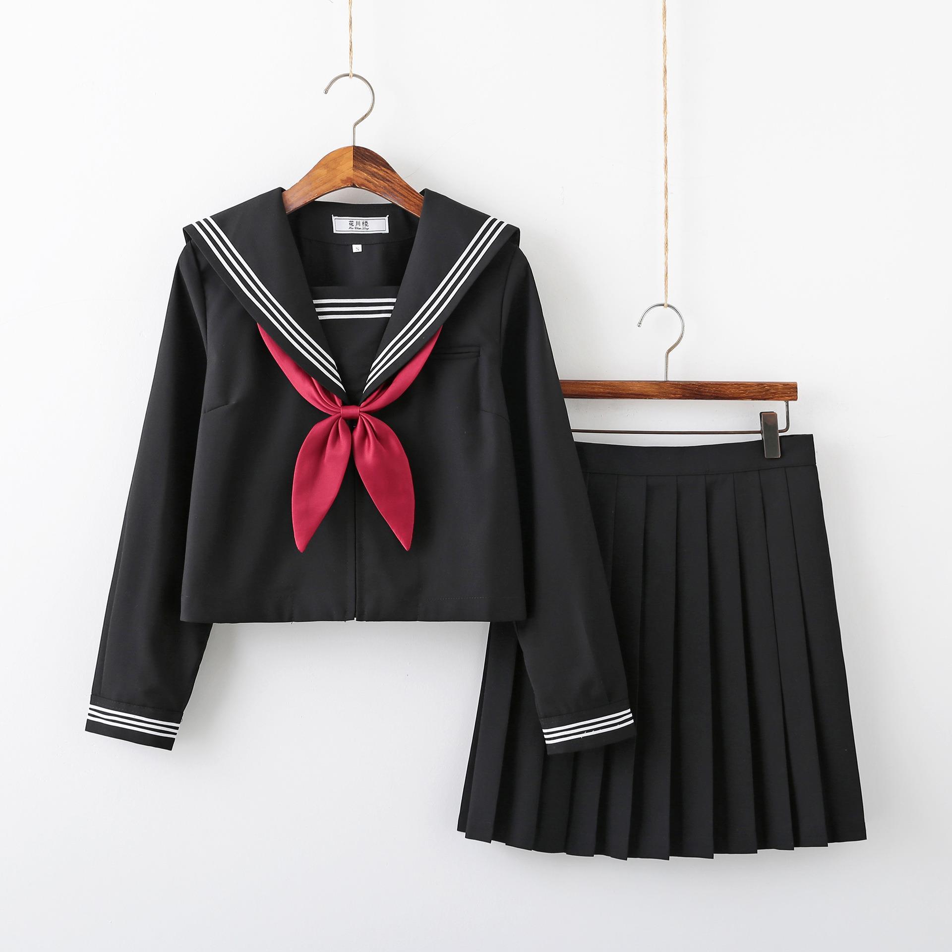全黑白三本日系jk制服裙学院风软妹水手服中间服学生班服套装高中