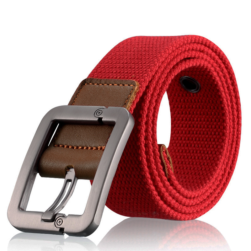 Red mens and womens common canvas belt leisure outdoor youth cloth belt male students military training belt