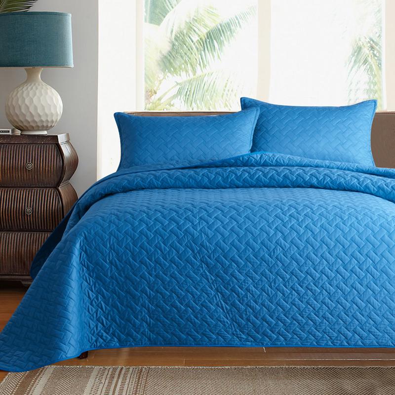 韩国床盖三件套简约美式纯色全棉纯棉绗缝床单夹棉床罩绗缝被单件