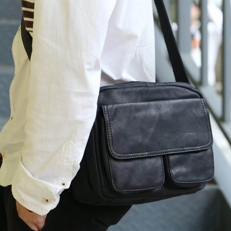 Head leather Japanese Leather Mens bag Single Shoulder Messenger Bag retro postman bag leisure Hand Bag Backpack