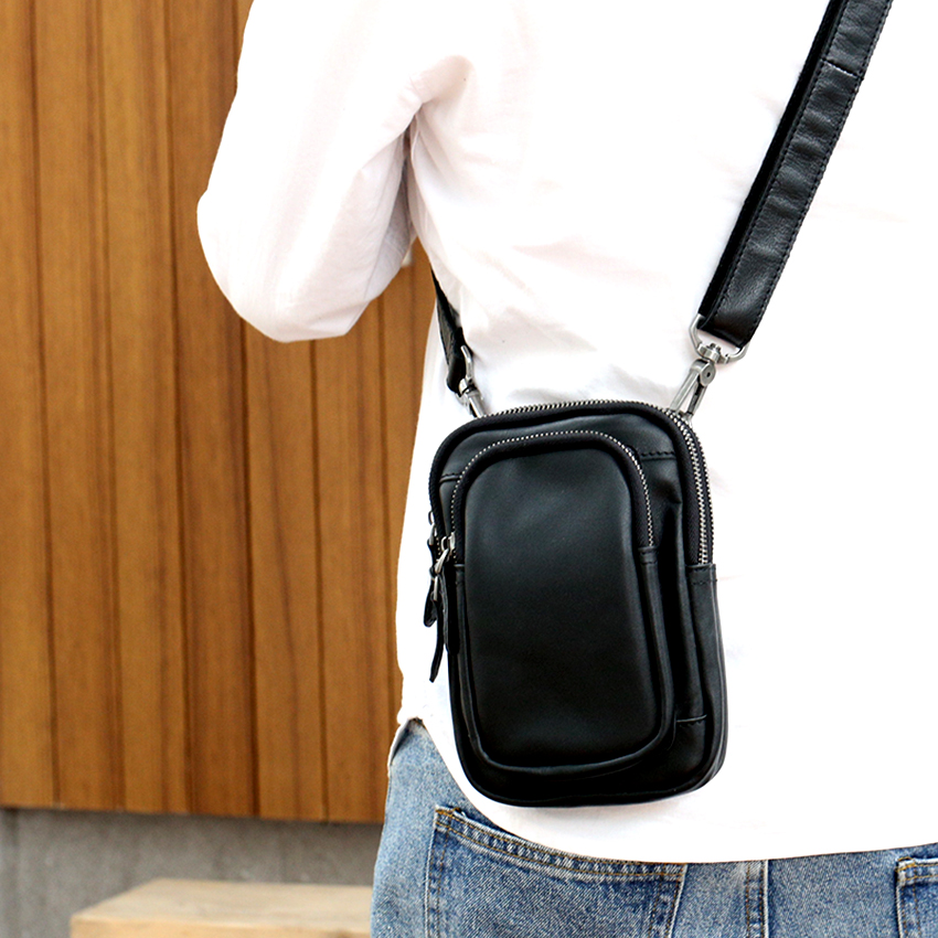 Japanese trendy Leather Satchel mens leather one shoulder bag casual retro Mini Backpack mobile phone waist bag