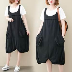 胖女人遮肚显瘦连衣裙宽松修身文艺适合大码简约T恤背带裙两件套