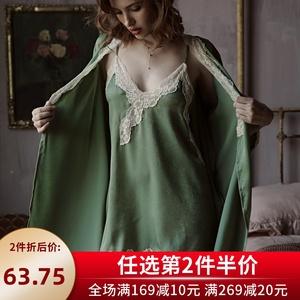 六楼阿姨芥末绿性感睡衣女吊带美背绵绸睡裙睡袍蕾丝宽松家居服春