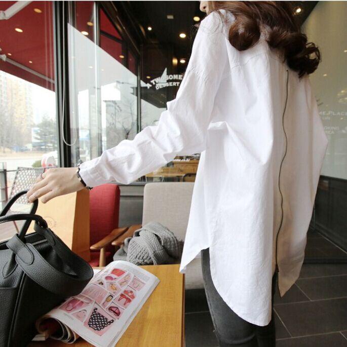 2019春季韩版宽松bf风纯棉白色衬衣