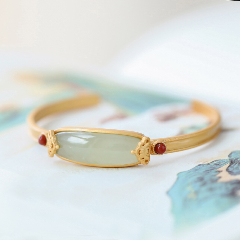 S925 silver plated gold inlaid Hetian Bracelet sapphire geometric south red bead opening Adjustable Bracelet original design