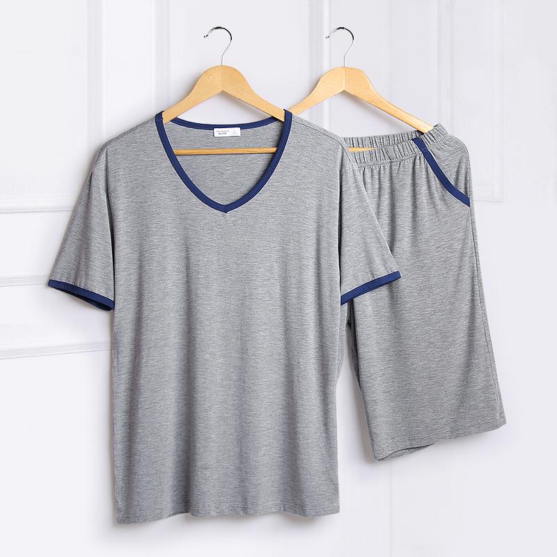 夏季男士睡衣冰丝加大码可外穿薄款宽松青年莫代尔短袖家居服套装热销73件有赠品