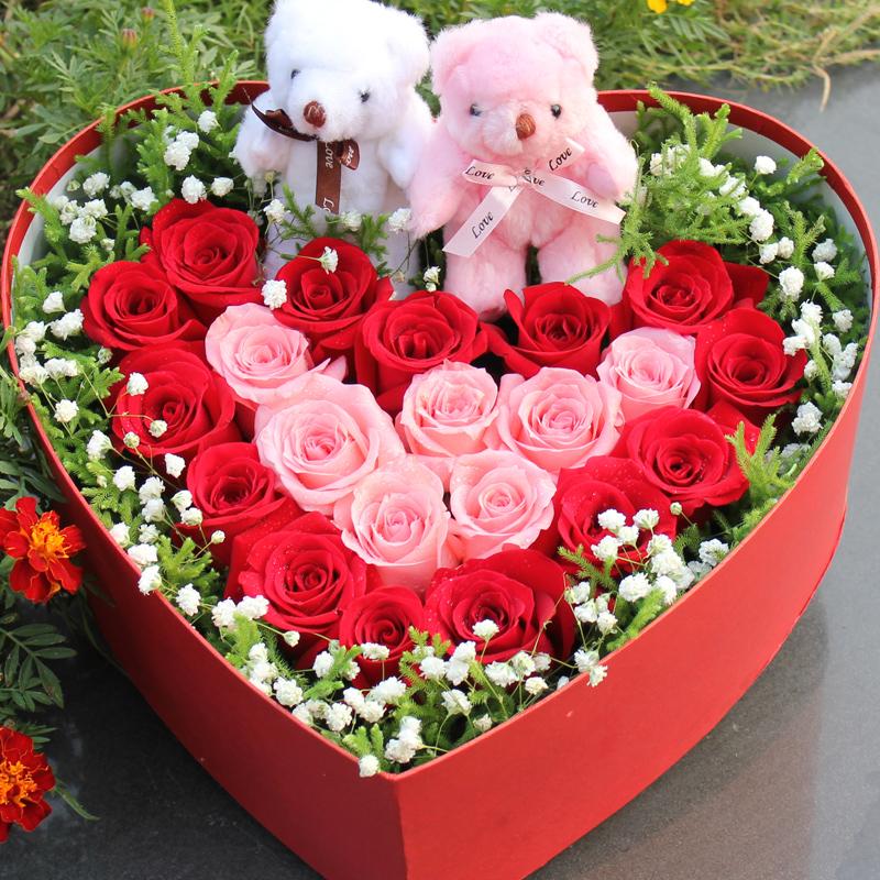 邯郸花店同城速递 33朵红玫瑰心形礼盒生日鲜花3小时全国送花上门