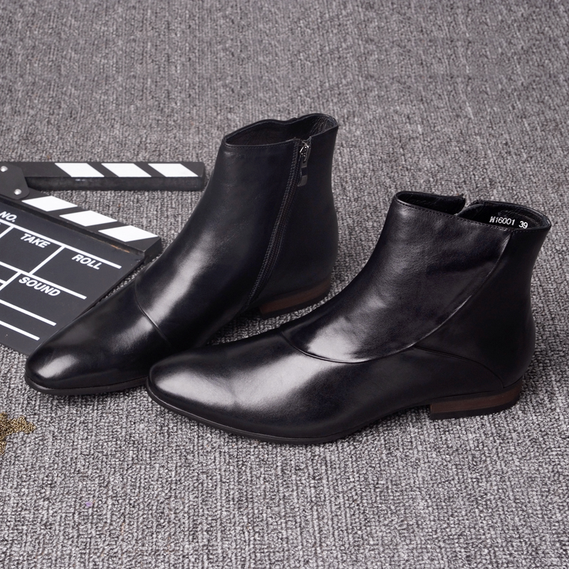 Winter new mens business short boots pointed zipper high top leather shoes leather Martin boots cotton boots