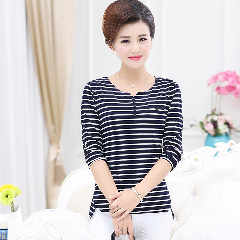 中年女装春秋装纯棉长袖T恤秋衣条纹外穿中老年上衣妈妈装打底衫