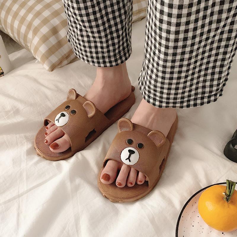 少女心可爱小熊拖鞋女夏平底室内浴室防滑拖鞋软底ins网红细细条
