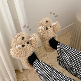 细细条 棉拖鞋女全包跟可爱卡通少女心室内防滑保暖毛绒居家鞋冬图片
