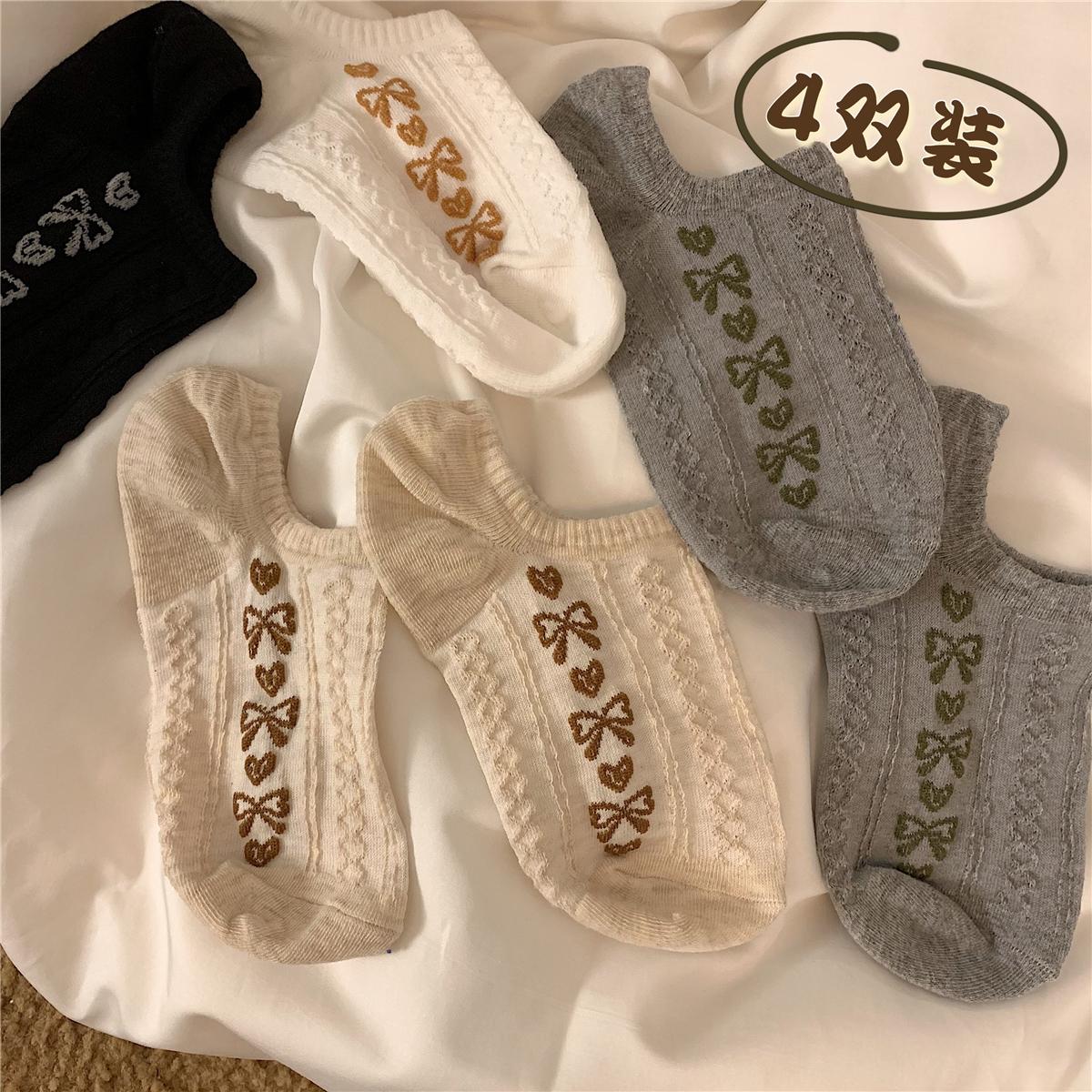 细细条 文艺复古袜子女夏ins潮可爱硅胶防滑低帮浅口隐形短袜船袜