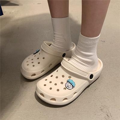 细细条 护士洞洞鞋女ins潮可爱卡通凉鞋夏天情侣防滑厚底沙滩鞋男