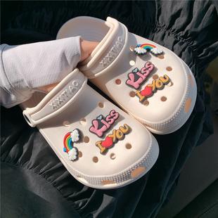 细细条 护士可爱少女心包头洞洞鞋女夏学生外穿防滑沙滩凉拖鞋ins