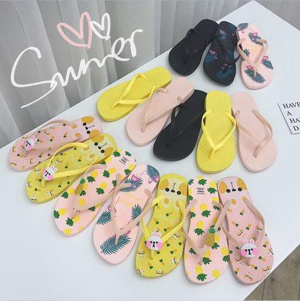 人字拖女夏韩版学生时尚百搭外穿平底可爱卡通夹脚凉拖鞋沙滩鞋子