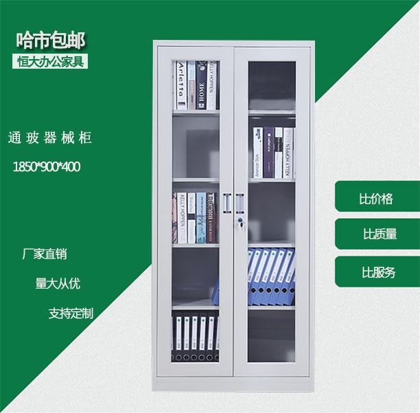 哈尔滨恒大办公家具特价哈市包邮资料柜文件柜玻璃书柜通玻器械柜