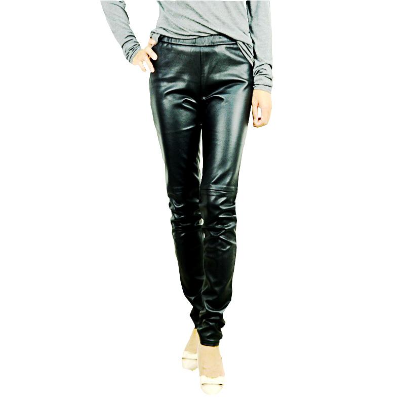 2021mk womens boutique tight slim waist leather pants autumn and winter fashion temperament warm stitching Capris