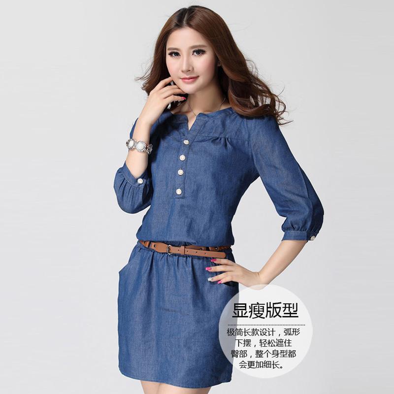 Любовь плюс размер дамы осень корейских мм loose жира и жира жира сестра XL семь рукав джинсовой ткани платье