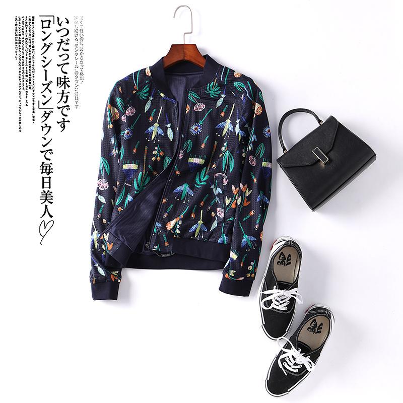 诗燕印花棒球服休闲外套女长袖2018春装新款韩版女装夹克81703