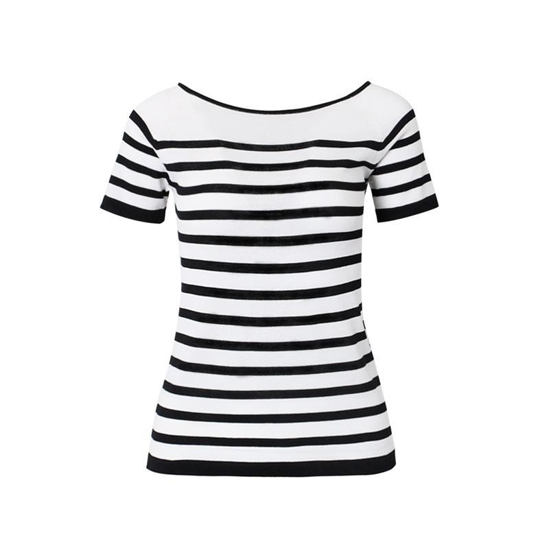诗燕女装2017夏季新款短袖针织衫 条纹宽松显瘦时尚大码上衣71509