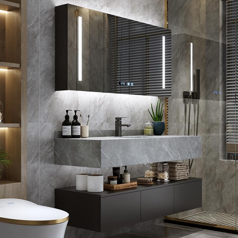 现代简约岩板一体轻奢浴室柜组合洗脸洗手面池卫生间洗漱台盆镜柜