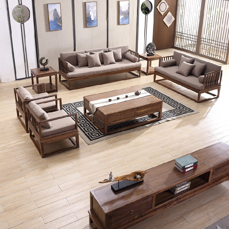 Modern Chinese style real wood Zen sofa combination simple Chinese Style Villa Club living room decoration custom furniture