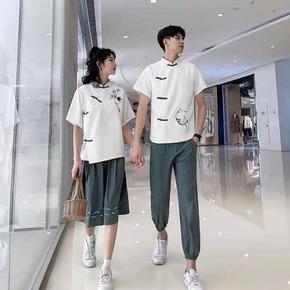 情侣装夏季一衣一裙中国风短袖t恤套装汉元素初高中学生班服古风