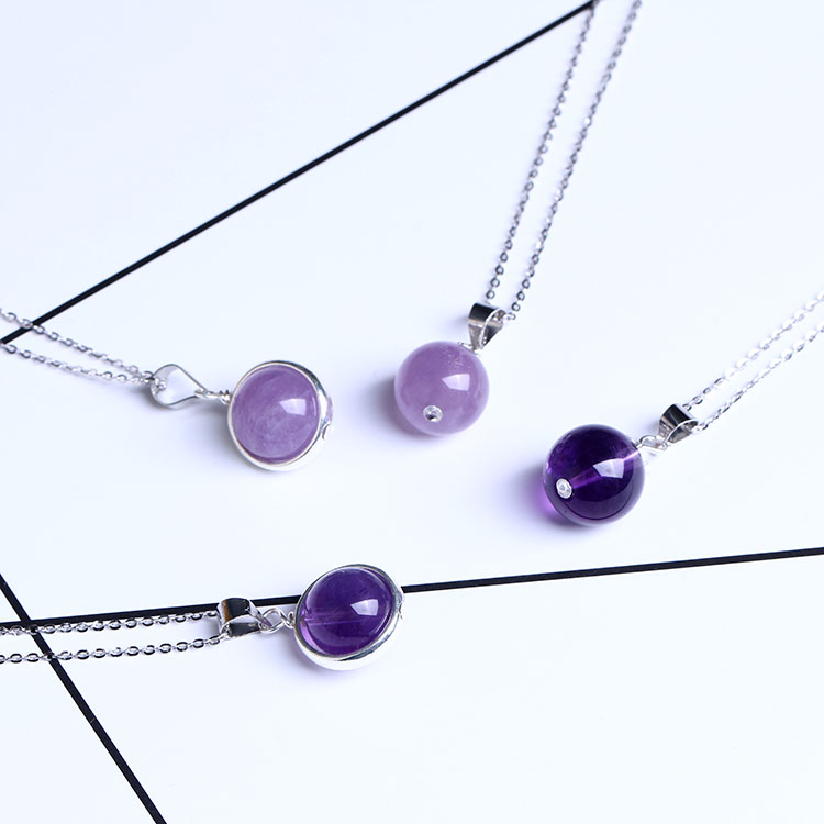 Natural Amethyst Pendant female Sterling Silver clavicle chain student girlfriends simple necklaces transfer real gifts for students study