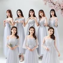 伴娘礼服长款2020秋冬新款姐妹团长裙灰色显瘦毕业主持合唱演出服
