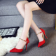 The word with a single shoe buckle 2016 new fine with sexy high-heeled shoes in the summer with shallow mouth Baotou women shoes