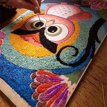 创意新品纸浆画入门材料包手工diy小礼物带画框猫头鹰有教程包邮