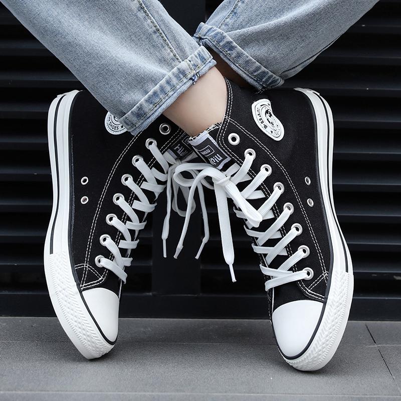 环球高帮帆布鞋男学生潮流百搭男鞋男士休闲男生鞋子夏季潮鞋布鞋