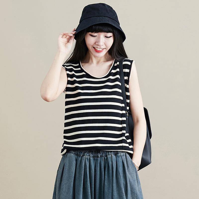 Vest womens 2020 summer new black rice stripe loose Japanese top round neck old Japanese slim sleeveless T-shirt