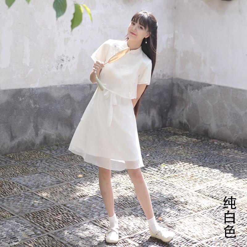 川黛 - 茉莉引 夏日国风少女 三色薄纱茉莉刺绣 假两件旗袍连衣裙