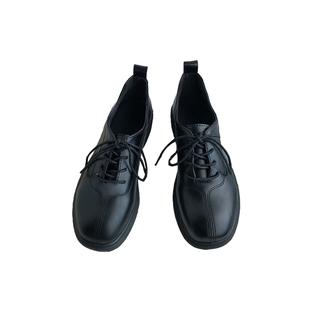 黑色小皮鞋女2020新款韓國ins潮英倫風學院方頭軟皮日系復古單鞋