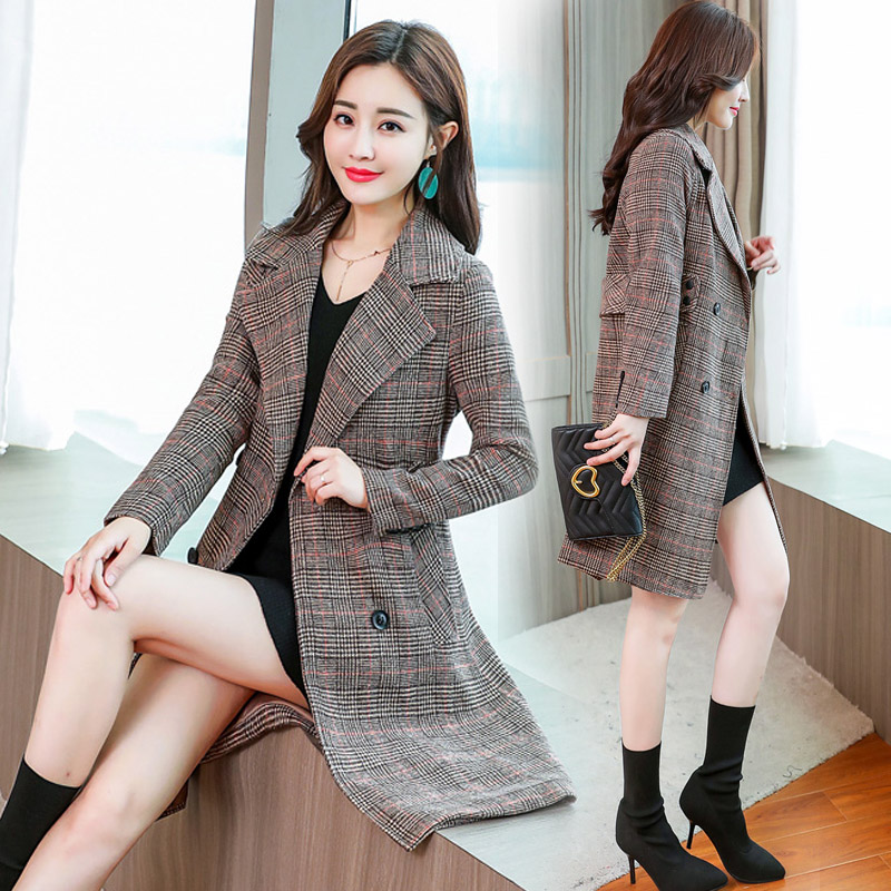 Tartan coat womens middle long Korean version 2020 spring and Autumn New Womens slim double breasted plaid coat