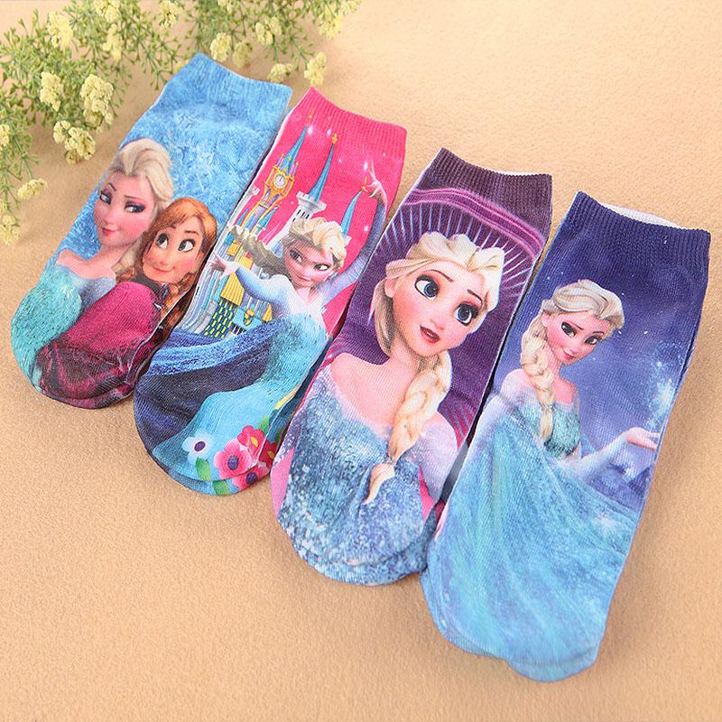 学生袜女夏季卡通冰雪奇缘2-4岁-10岁中小儿童棉袜子短筒船袜6双