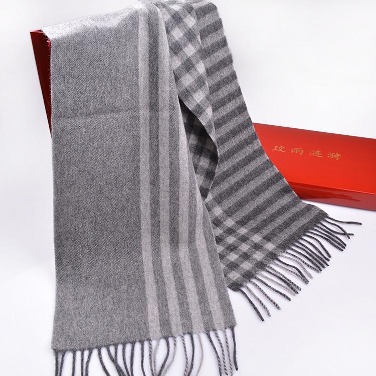 保暖短款围巾男纯羊毛围巾冬季灰色英伦格子围巾条纹细窄围巾男潮