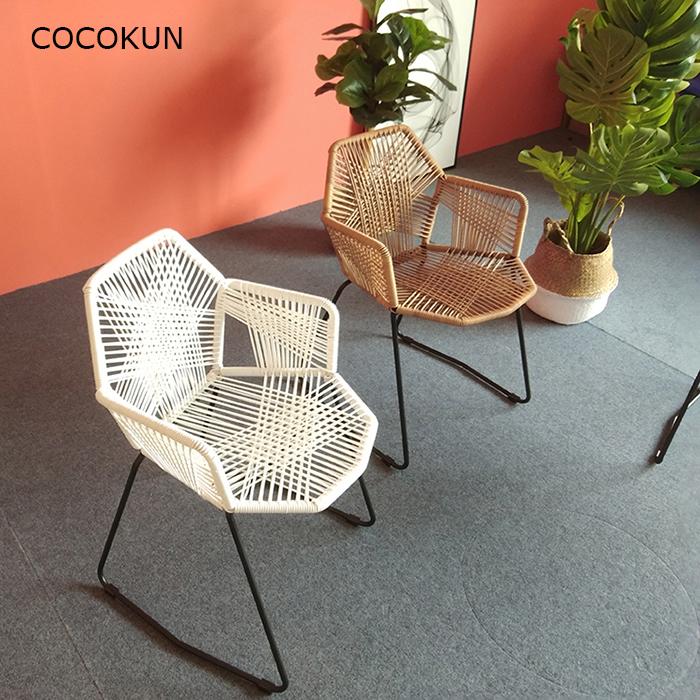 编织单人椅子北欧现代简约庭院桌椅