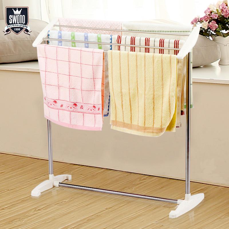 毛巾架落地式免打孔小型卫生间不锈钢置物架浴巾架浴室挂毛巾杆