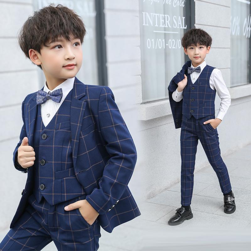 兒童西裝套裝花童三件套小男孩鋼琴禮服小孩演出韓版帥氣男童西服