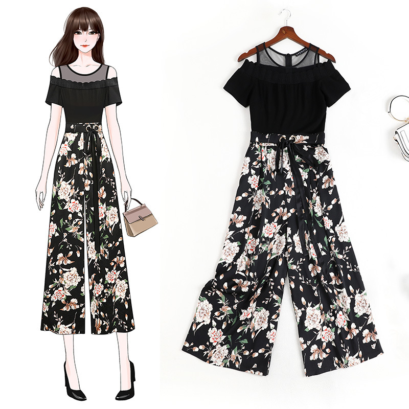 2020 summers new slightly fat mm large womens dress looks thin and elegant lace printed Jumpsuit for women