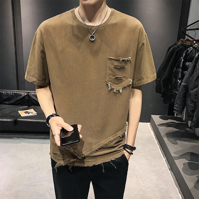 2020夏季短袖t恤男士圆领体恤半袖宽松男装 褐色B317/TX07/P45